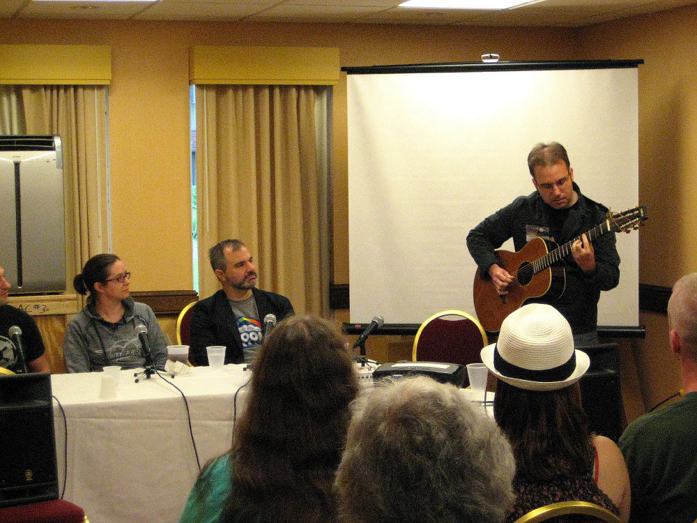 "John Anealio performs during Mur Lafferty's ""I Should Be Writing"" podcast."